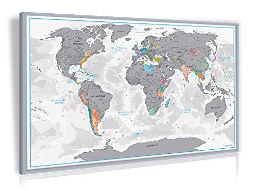Wieder da und günstiger: 3D Rubbel-Weltkarte mit Holzrahmen in Silber für 12,97€ inkl. VSK