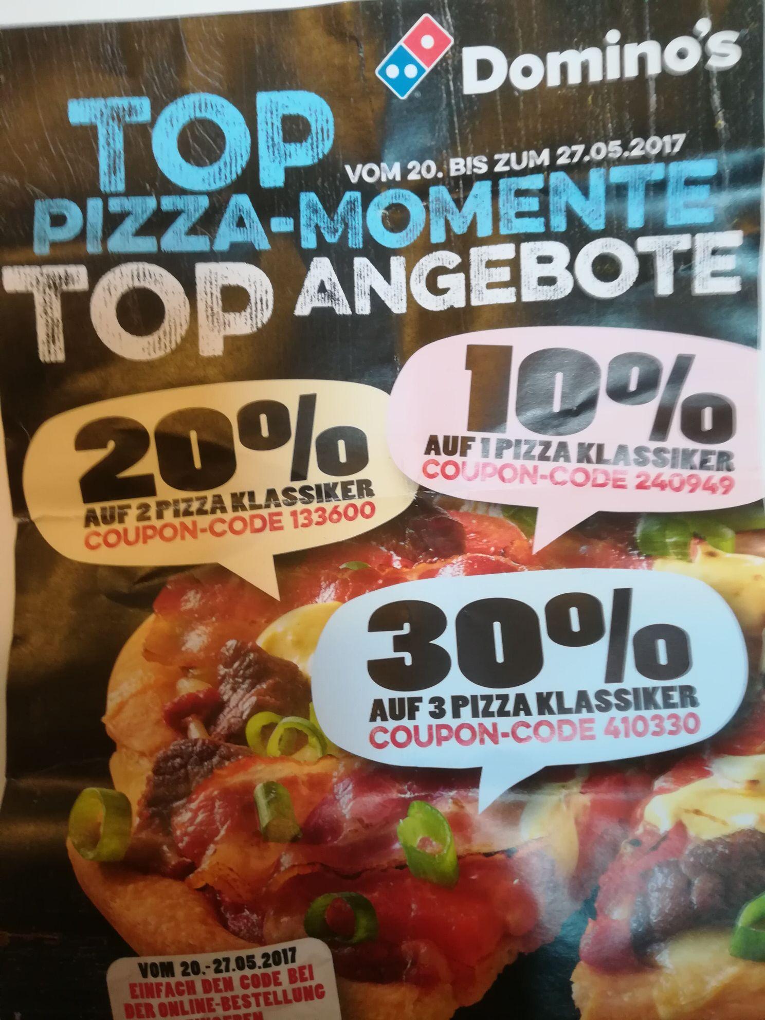 Dominos Gutschein (ab Samstag 20.05) 10/20/30% bei 1/2/3 Pizzen ( Zweibrücken und anderen teilnehmenden Läden)