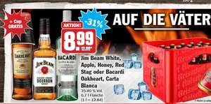 Jim Beam White,  Apple, Honey, Red  Stag oder Bacardi  Oakheart, Carta  Blanca 35-40 % Vol. 0,7 l Flasche je 8,99€ mit 3€ Jim Beam Coupon 14,98€ für 2 Flaschen Jim Beam