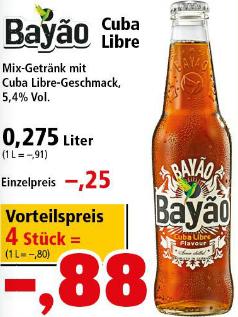 4 Flaschen Bayao Cuba Libre (4x275ml) für nur 0,88€ (0,22€/Flasche) Pfandfrei [Thomas Philips]