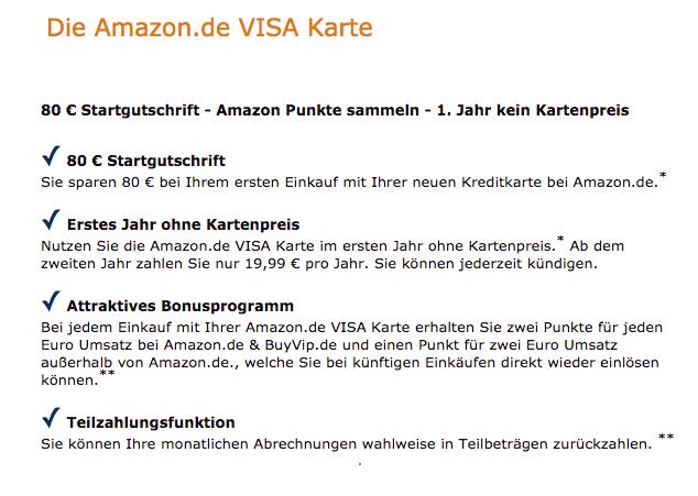 [Amazon][ausgewählte Kunden] 80,-€ Startgutschrift für VISA-KK + 1Jahr kein Kartenpreis