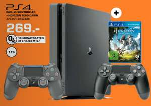 Sony PlayStation 4 (PS4) Slim 1TB + Horizon: Zero Dawn + 2.Controller für 269,-€ Versandkostenfrei [Saturn]