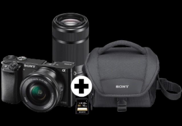 SONY Alpha 6000 Kit Systemkamera 24.7 Megapixel mit Objektiv 16-50 mm, 55-210 mm