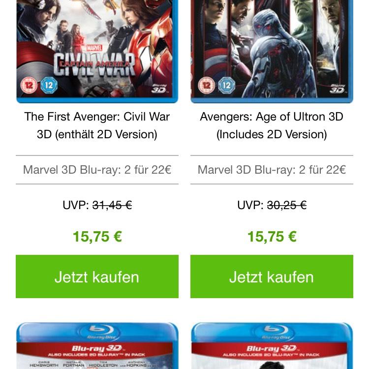 Marvel 3D-Blurays für 11 Euro (beim Kauf von 2 Disks)