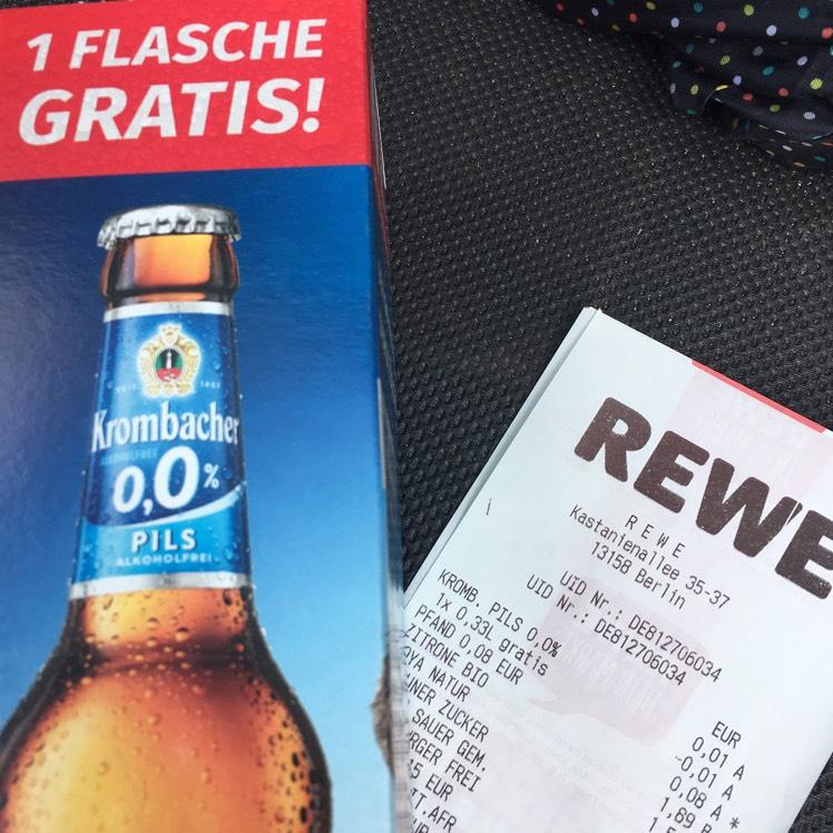 Rewe: 1 Gratis-Flasche 0,33l Krombacher 0,0%