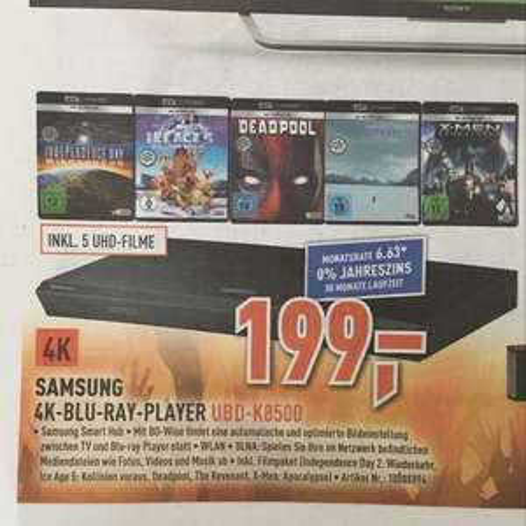 Samsung 4K-Blu-Ray-Player UBD-K8500 inkl. 5 UHD-Filme