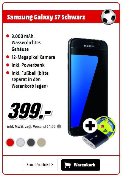 Samsung Galaxy S7 SM-G930F 32 GB Smartphone - 4G - 13 cm (5,1 Zoll) Super AMOLED 1440 x 2560 QHD Touchscreen - Samsung Exynos Octa-Core 2,30 GHz - 4 G  inc. Fussball und Powerbank für 399,-€ [Mediamarkt]