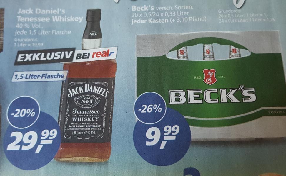 real,- ab Montag: Jack Daniel's 1,5L für 29,99 Euro (entspricht 13,99€ auf 0,7L); Kiste Beck's für 9,99 Euro; Pepsi + Lay's ...