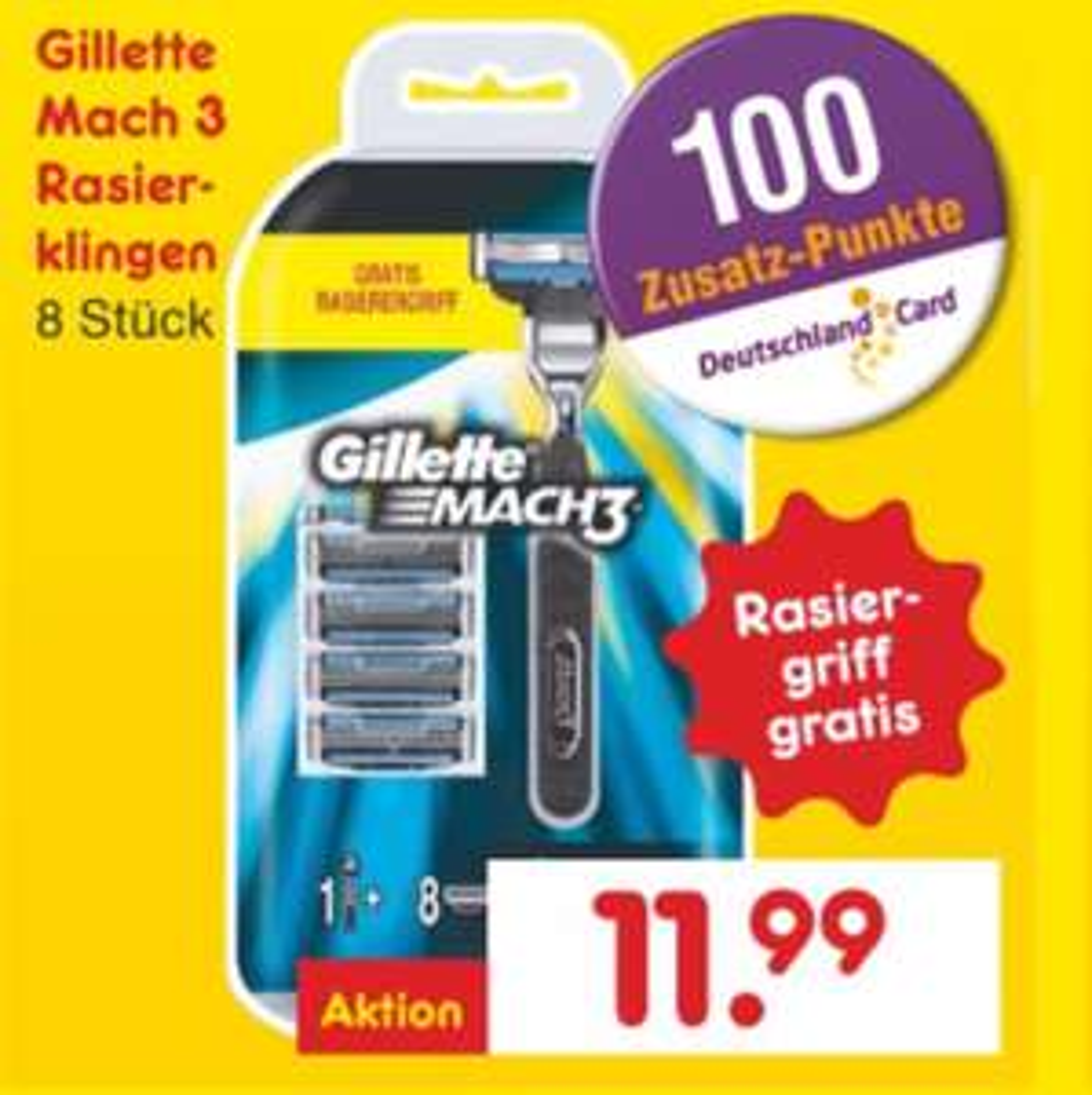 Gillette Mach 3 (1 Rasiergriff + 8 Rasierklingen) [Netto]