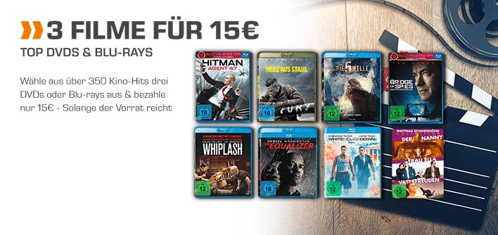 [Saturn] 3 Filme (Bluray und DVD] für je 15,-€ Versandkostenfrei (Auswahl von 350)