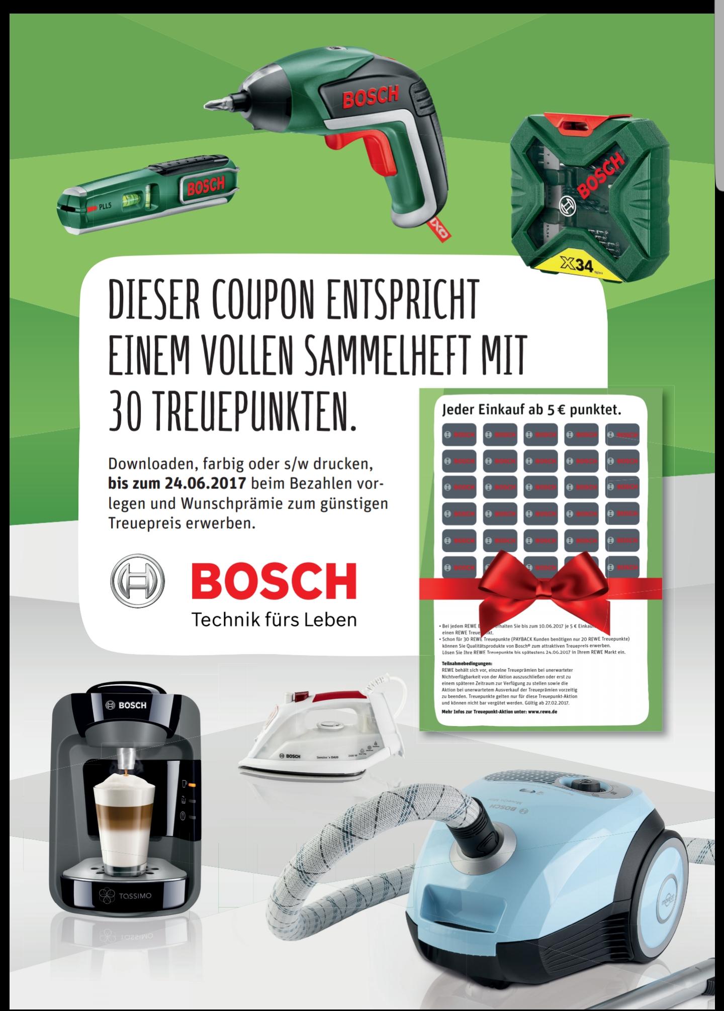 Volles Bosch-Sammelheft als Gutschein für Rewe