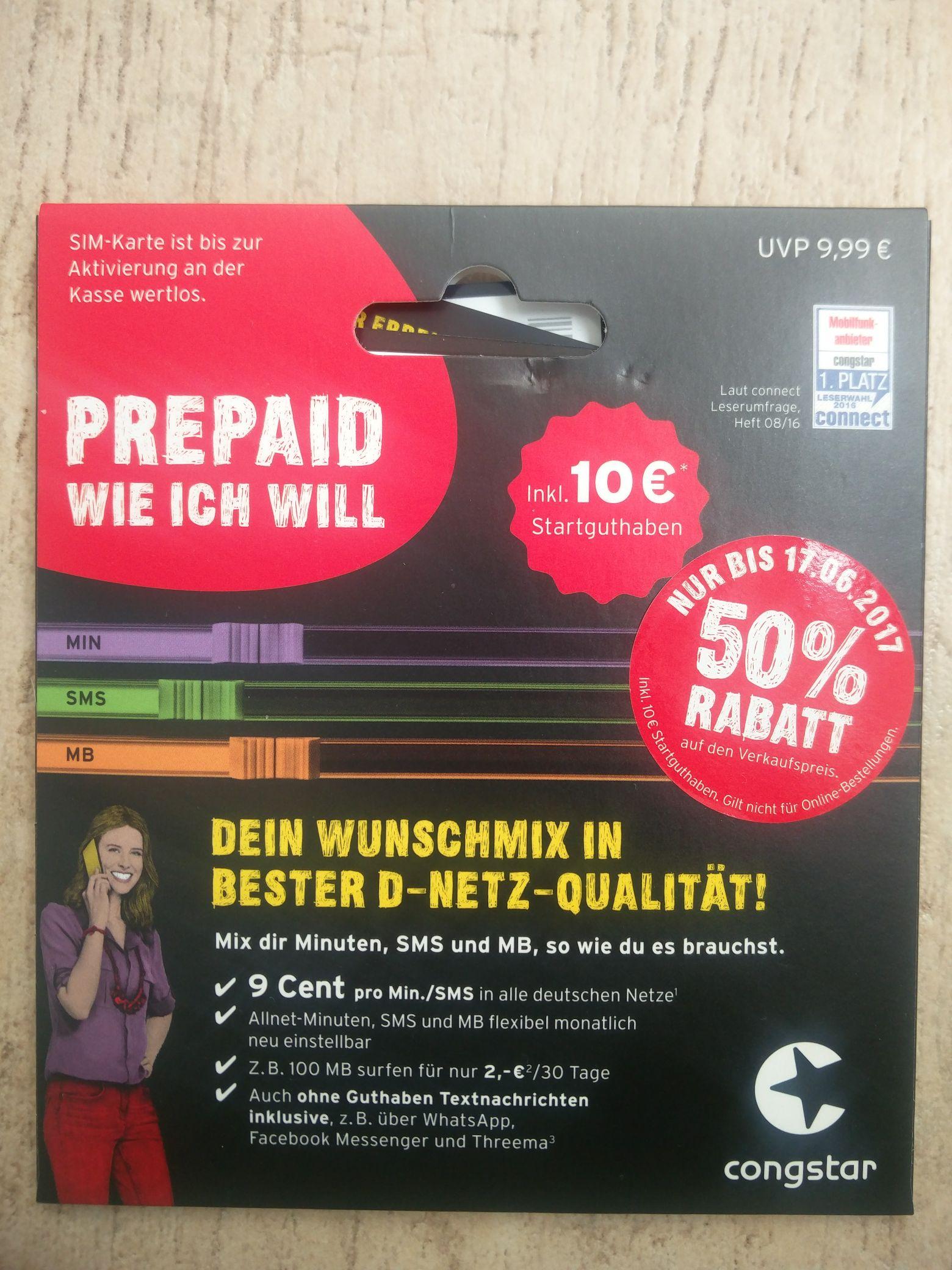 congstar Prepaid wie ich will – Starter Pack mit 10 € Guthaben