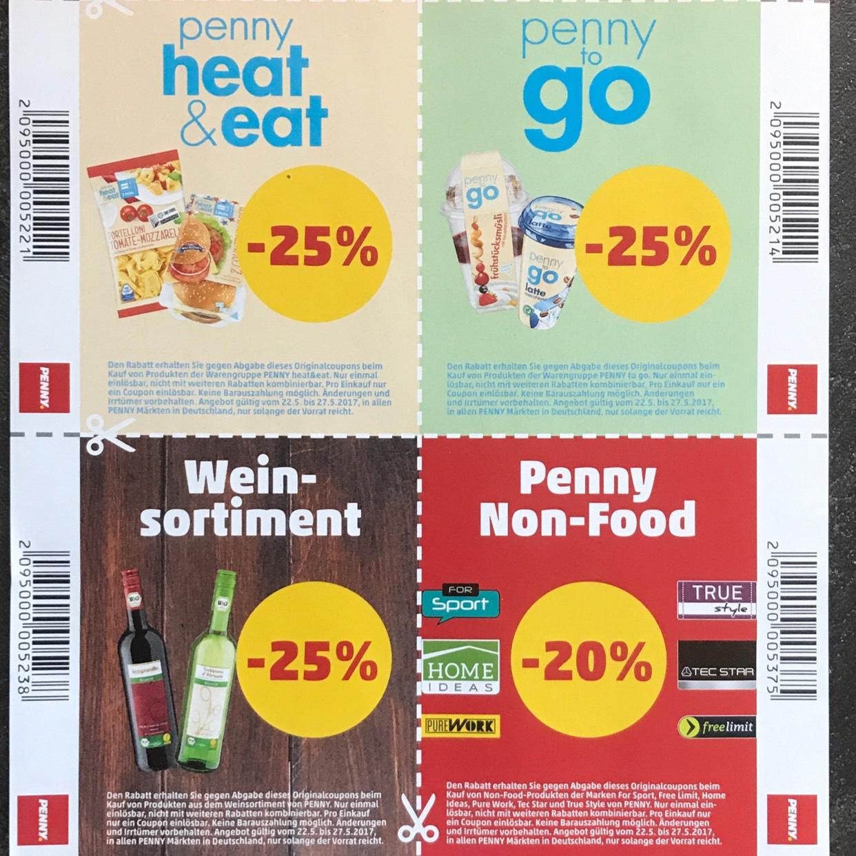 Penny 20 - 25% auf Penny Eigenmarke