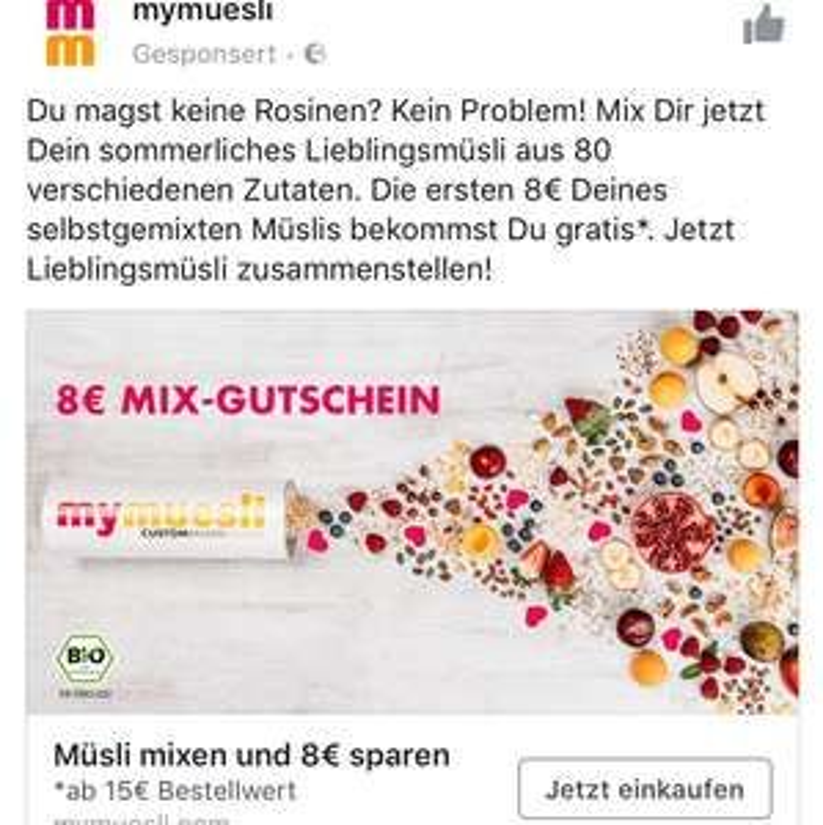 8€ Rabatt bei 23€ MBW (Endsumme min. 15€) mymuesli via facebook Link CODE