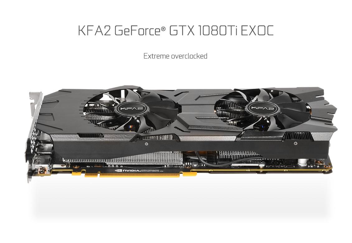 11GB KFA2 GeForce GTX 1080 Ti EXOC Aktiv PCIe 3.0 x16 (Retail), ab 0:00 Uhr für 689