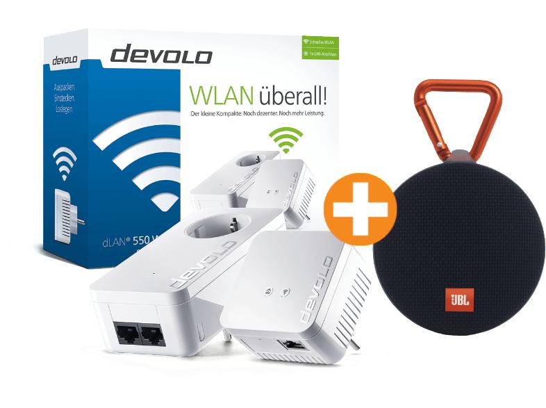 DEVOLO dLAN® 550 WiFi Starter Kit + JBL Clip2 Bluetooth-Lautsprecher mit Freisprechfunktion, schwarz für 108,99€ [saturn.at]