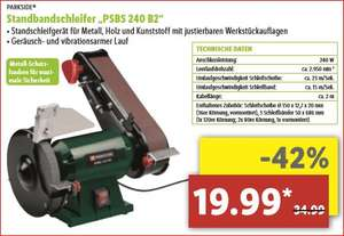 "[Lidl-lokal] Standbandschleifer ""PSBS 240 B2"" für 19,99 Euro"