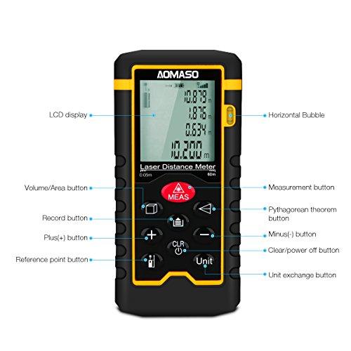 Laser-Entfernungsmesser (Messbereich: 0,05 - 60m; Messgenauigkeit: ± 2.0mm)