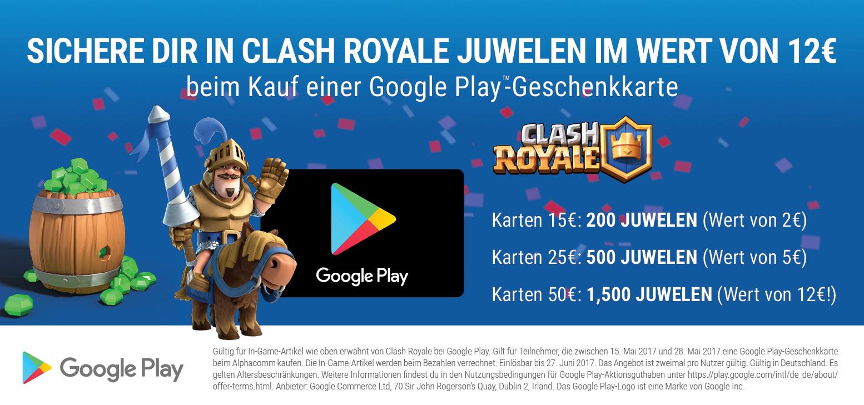 [Aufladen.de] 1.500 Clash Royale Juwelen geschenkt beim Kauf von 50€ Google Play-Guthaben