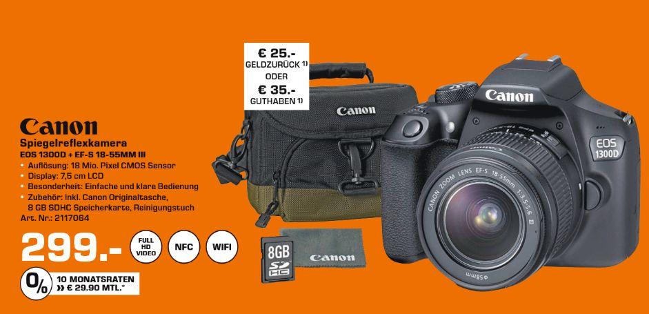 [Saturn] Canon EOS 1300D Digitalkamera SLR 18.0 MPix 1080p / 30 BpS 3 x optischer Zoom EF-S 18-55-mm-DC-III-Objektiv Wi-Fi NFC Schwarz inc. Canon Kameratasche und 8GB SD-Karte für 299,-€ + 25,-€ Cashback Versandkostenfrei**Angebot Online**