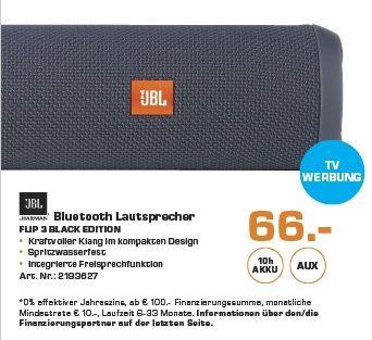 [Saturn ] JBL FLIP 3 Sonder Edition, Bluetooth Lautsprecher, Ausgangsleistung 16 Watt, Wasserfest, Deep Black für 66,-€**Bei Abholung**