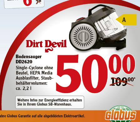 [GLOBUS] Dirt Devil DD2620 für nur 50€