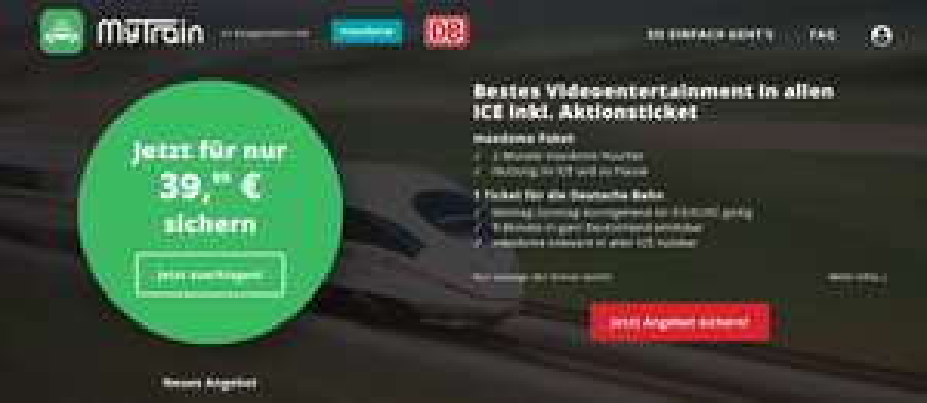 Bahn-Sparticket für nur 39,99 €  durch Deutschland + Maxdome