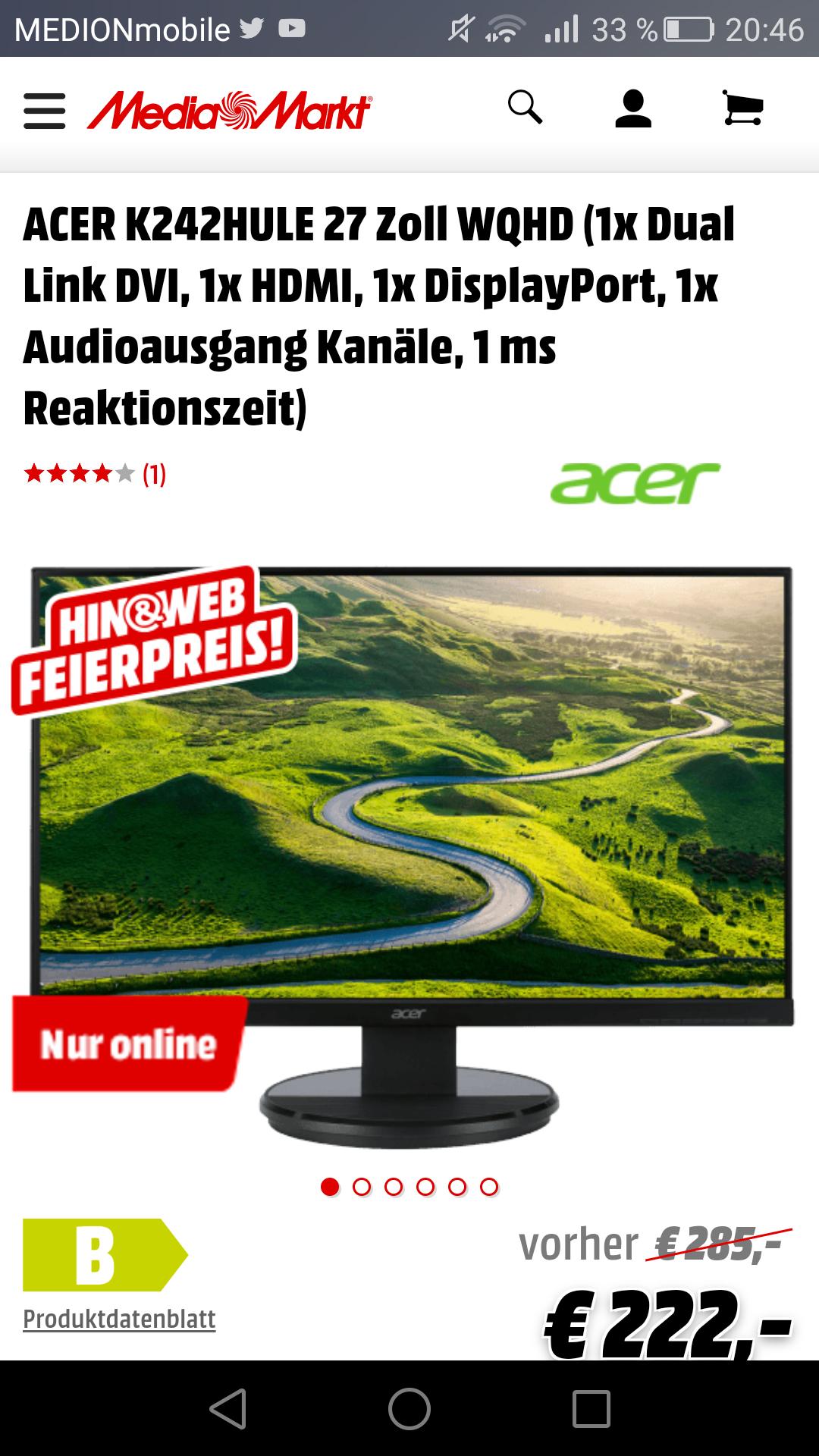 [Media Markt] 27 Zoll WQHD 1ms Reaktionszeit Acer Monitor