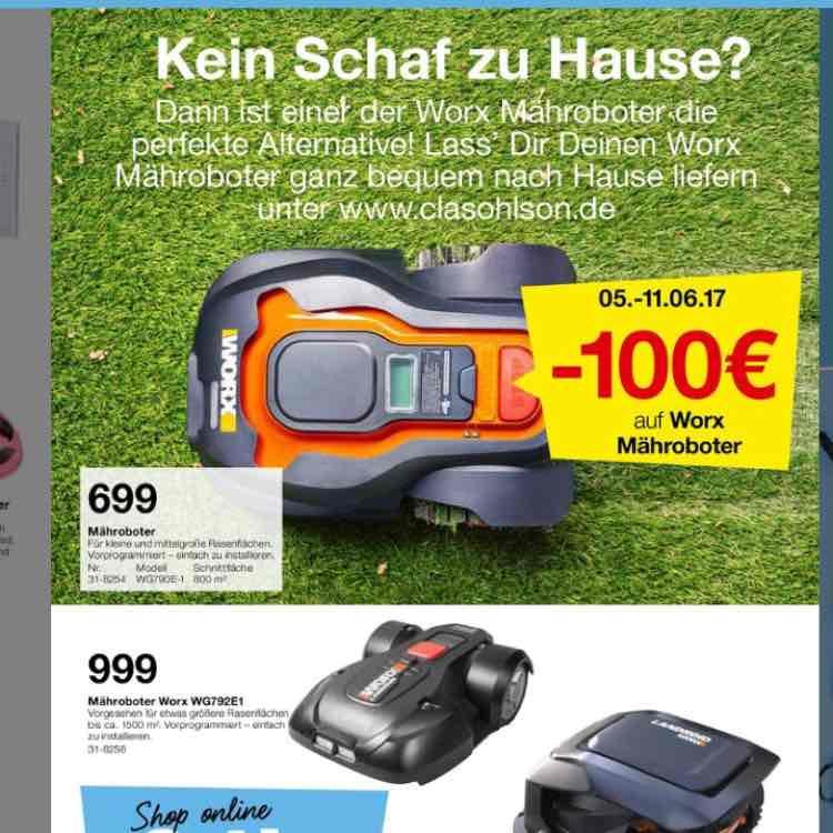 100€ auf Mähroboter bei Clas Ohlson vom 05.-11.06.
