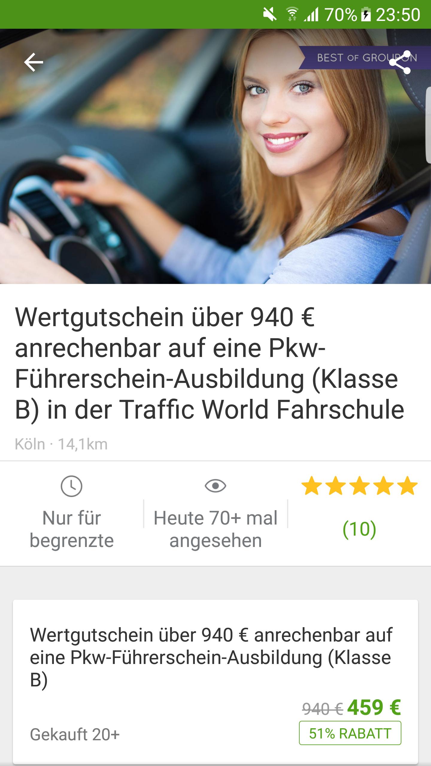[Köln] Führerschein Klasse B bei Groupon