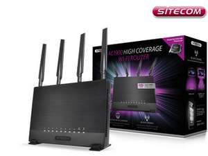 Sitecom WLR-9000 AC1900 Wi-Fi Router, Windows, Apple, Android, Frequenz: 2,4 GHz und 5 GHz, 4×10/100/1000-Mbit/s-LAN-Anschlüsse, 1×10/100/1000 Mbit/s-WAN-Anschluss, 1xUSB 3.0-Anschluss, 1×USB 2.0-Anschluss [IBOOD]