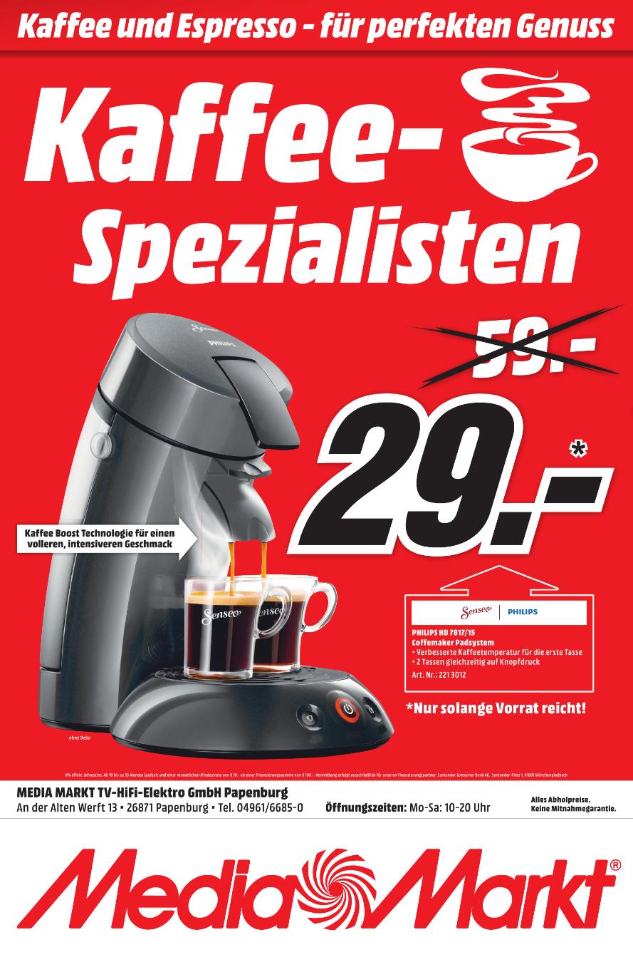 [Lokal Mediamarkt Papenburg] SENSEO® HD7817/15 Original Kaffeepadmaschine Tief-Schwarz für 29,-€