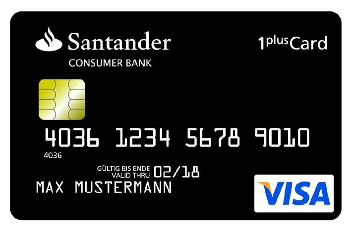 30€ Cashback auf Santander Kreditkarten für Neukunden - z.B. für die 1Plus Visa Card ohne Gebühren