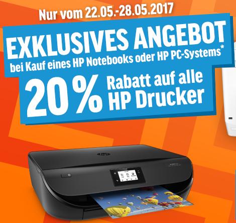 """20% Rabatt auf alle HP Drucker beim Kauf eines HP Notebooks oder PCs - zB 15,6"""" Full-HD Notebook mit Core i3-6006U + 4in1 Drucker mit 1 Jahr Tintenvorrat für 481€ statt 595€"""