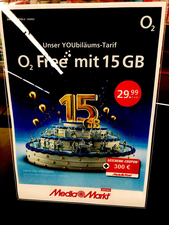 [MEDIAMARKT Leipzig City bzw Höfe am Brühl ] o2 15GB Tarif 29,99€/mtl SMS/TELE ALLNET + 1GB ROAMING PLUS 300€ MediaMarkt Coupon = 18,75€ / mtl