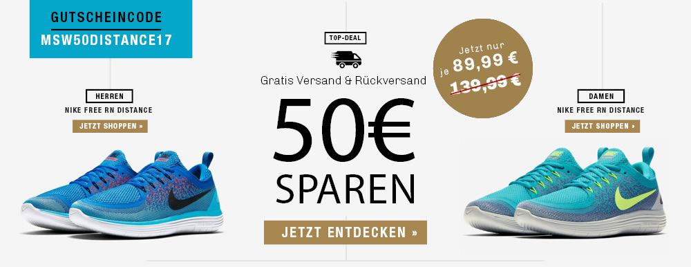 50 € Gutschein auf die neuesten Nike Free RN Distance 2 für Damen und Herren @my-sportswear.de
