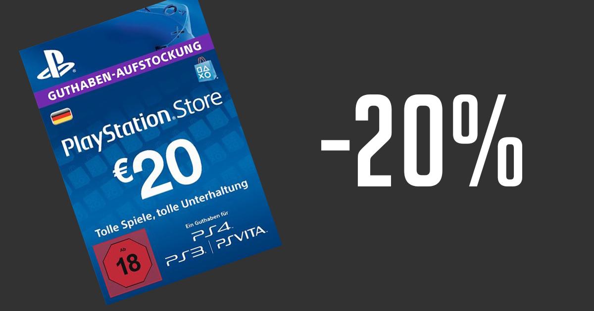 20€ PSN Guthaben mit Gutscheincode für 16,31€