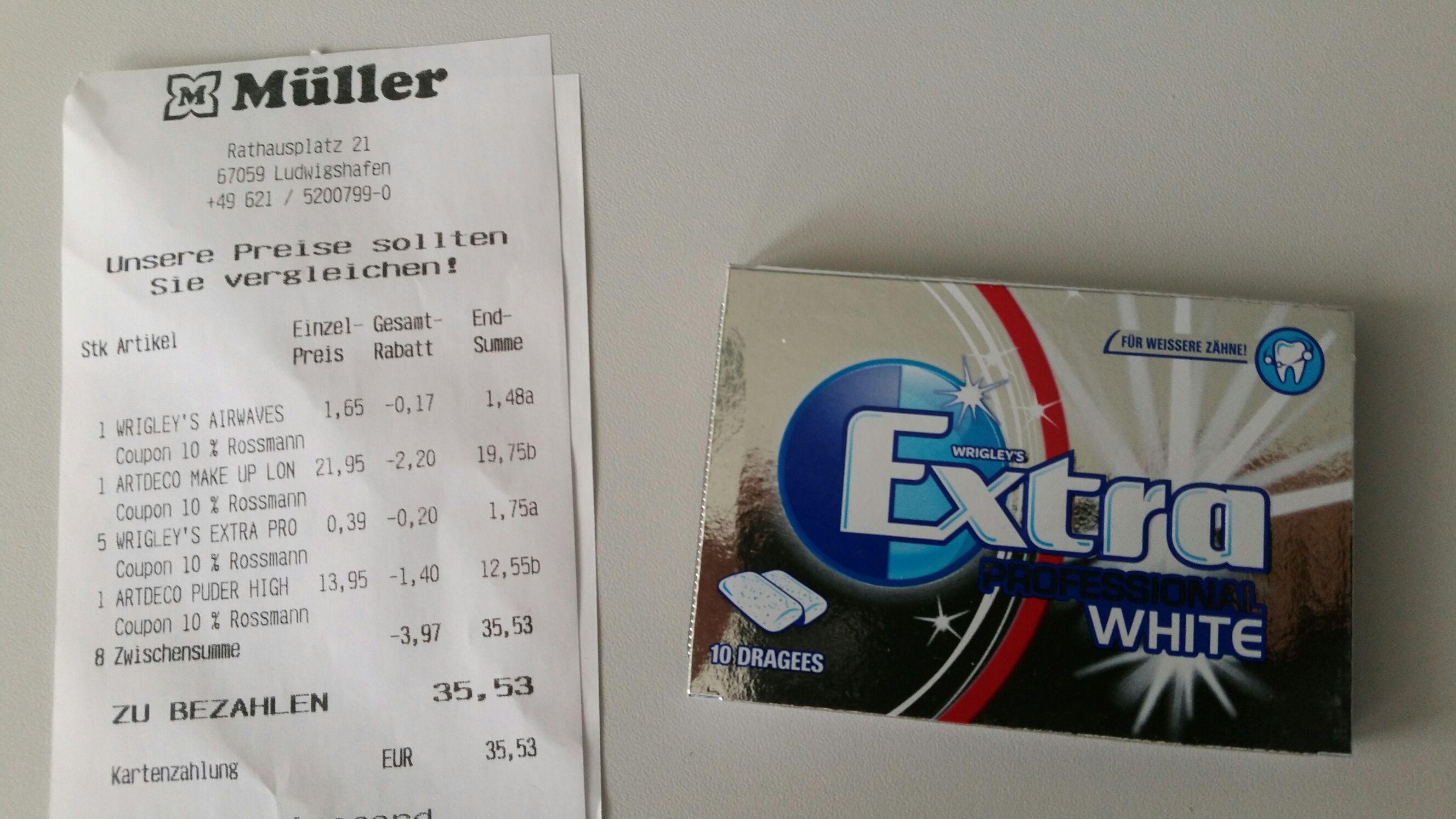 (Müller Ludwigshafen) Wrigley's Extra Professional White Kaugummis: € 0,35/10 Stk.!