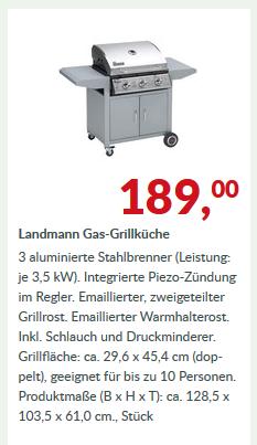 Landmann Gas-Grillküche 128 x 56 x 104 cm für 189,- statt 249,- (Marktkauf)