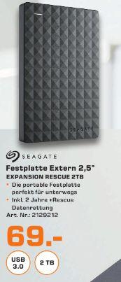 [Lokal Saturn Trier] SEAGATE 2 TB Expansion Portable Rescue Edition STEA2000200, Externe Festplatte, 2.5 Zoll für 69,-€