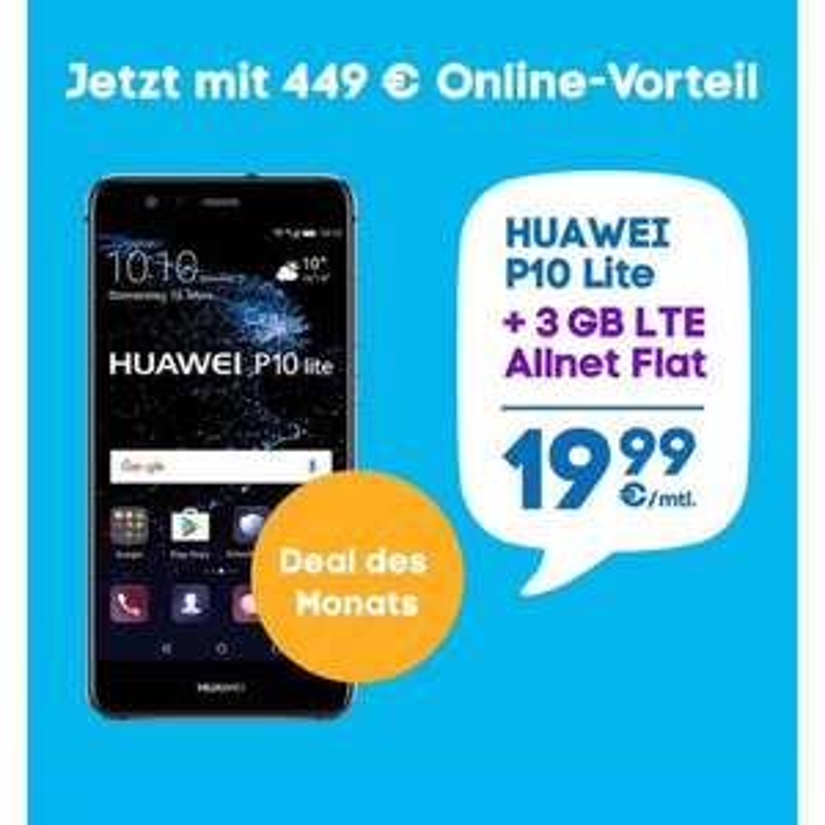 Huawei P10 lite mit 3 GB Flat bei Blau