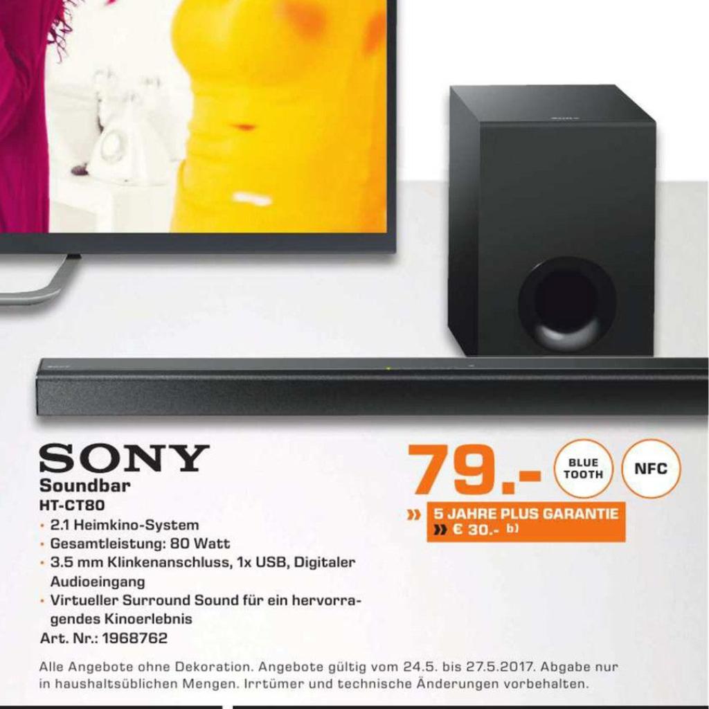 (Lokal Saturn Baunatal) Soundbar Sony HT-CT80