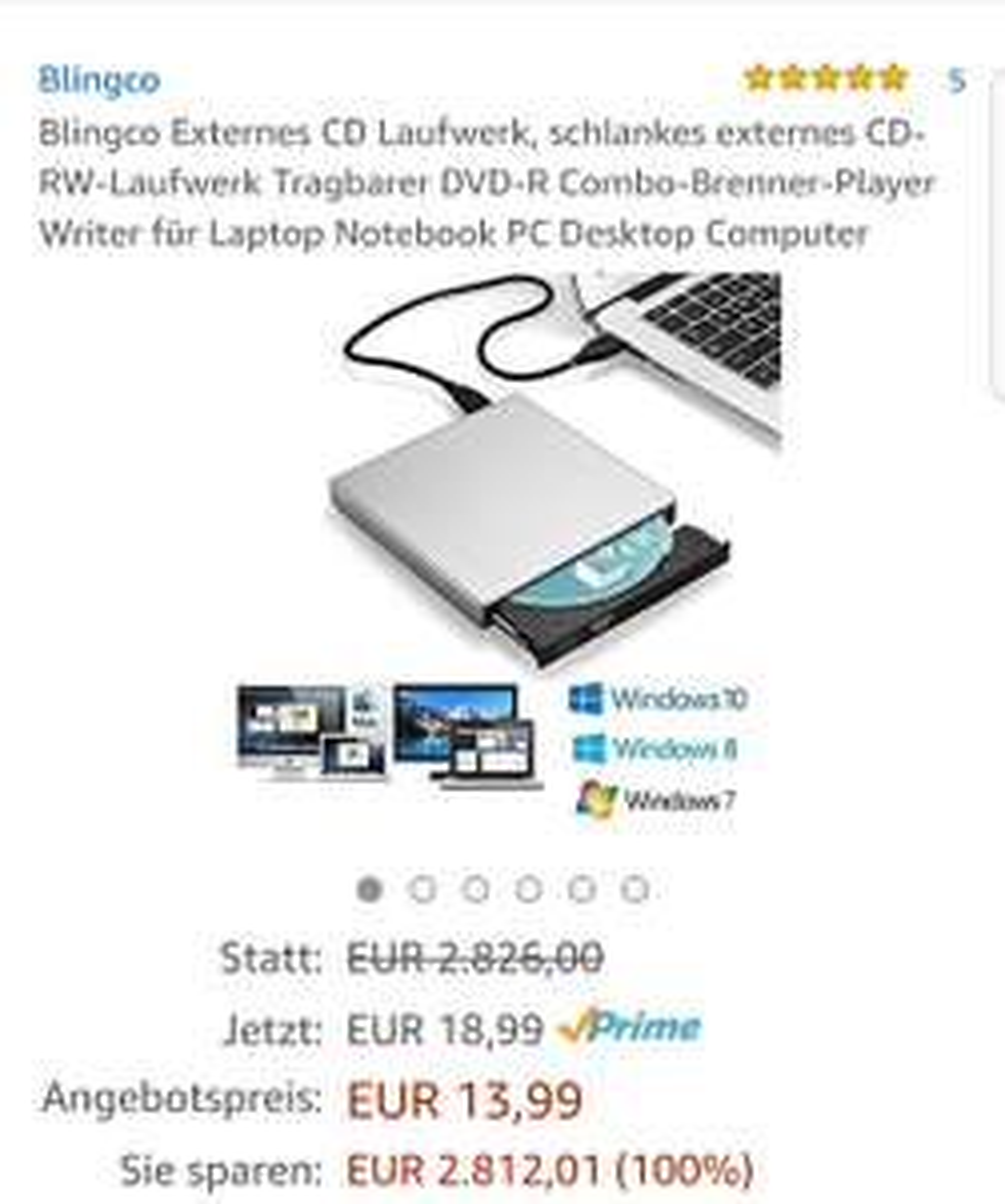 Blingco externes CD Laufwerk 13.99€ statt 2826€ = 2812.01€ 99.50495% Ersparnis