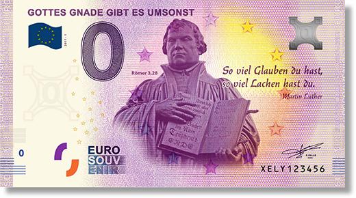 Gottes Gnade gibt es umsonst: Echter 0 Euro Schein