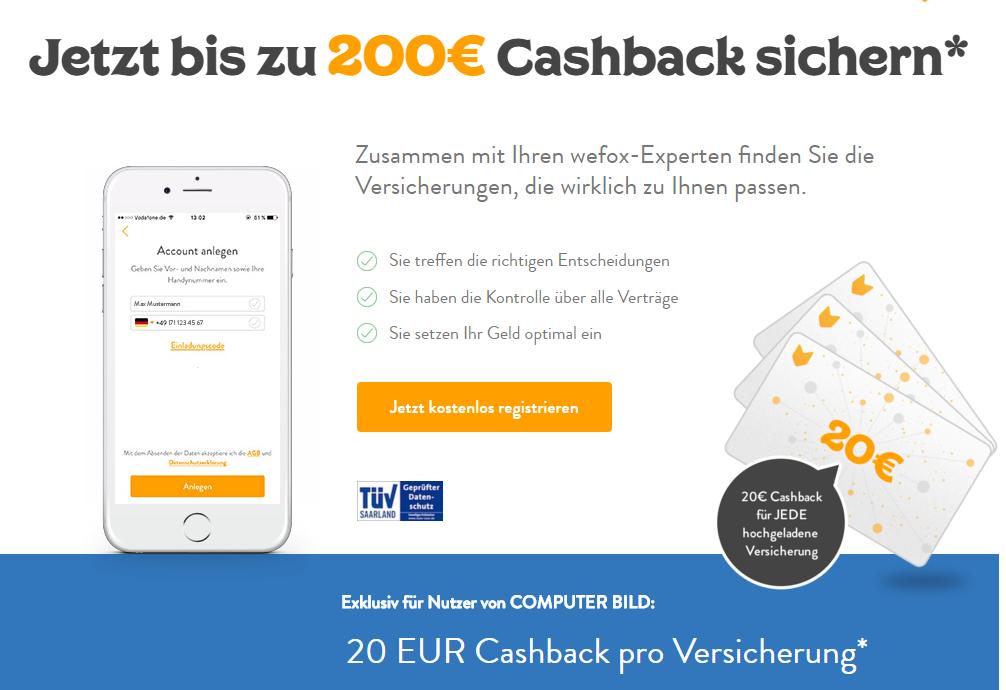 [wefox] 20€ Cashback pro angegebener Versicherung: Max. 200€ Cashback - für Neukunden