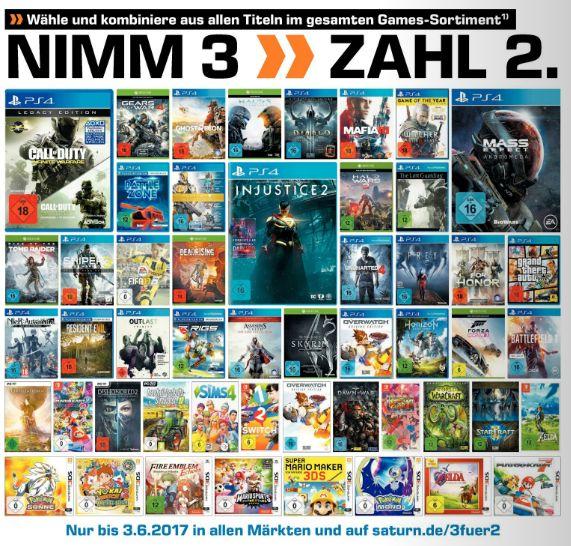 Nimm 3- Zahl 2 Aktion auf das gesamte Gamesortiment. On- und Offline [Saturn]