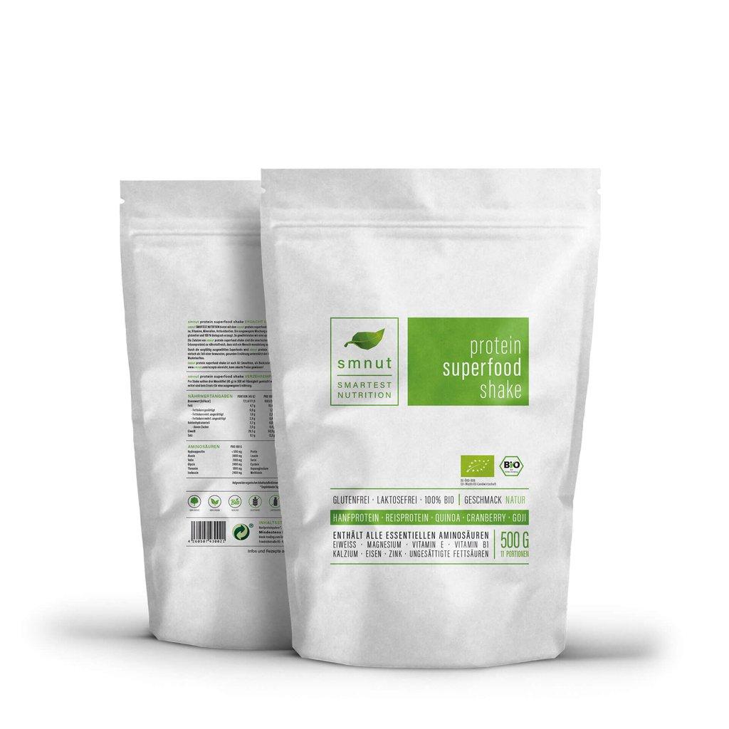 Die Alternative zu Whey: Veganer Proteinshake auf Hanfbasis von smnut - 500g für 18,62€ oder 1kg für 33,82€ (Geschmack Natur oder Kakao)