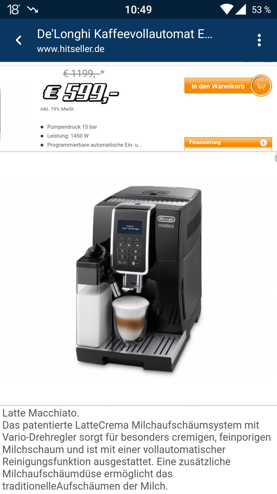 De'Longhi Dinamica ECAM 350.55.B Kaffeevollautomat