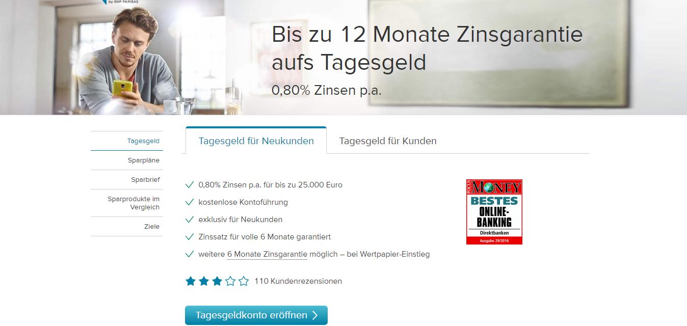 Consorsbank Tagesgeldkonto mit 0,8% Zinsen bei kostenloser Kontoführung - 35€ Amazon-Gutscheinprämie @Bonusdeal24