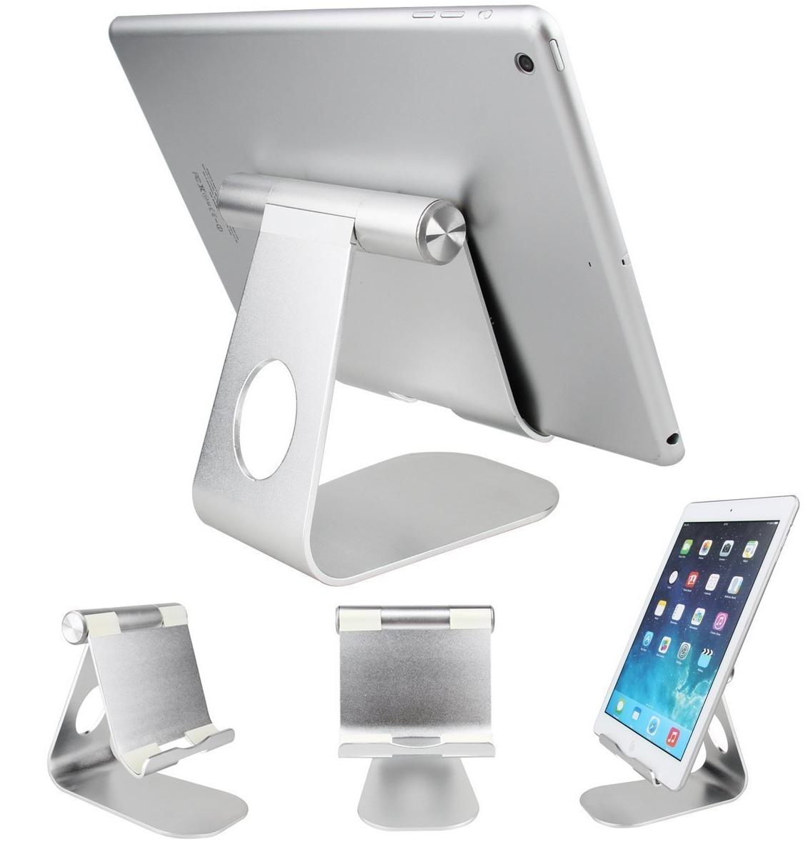 Verstellbarer Tablet-Ständer aus silbernem Aluminium für iPad, Tablet-PC, E-Book-Reader & Co
